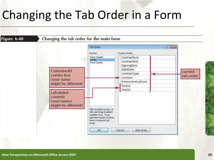 Changing the Tab Order in a Form