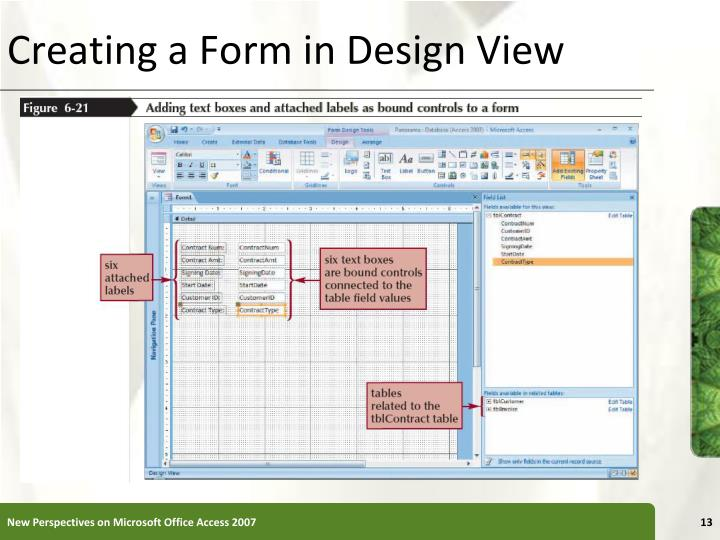 Creating a Form in Design View
