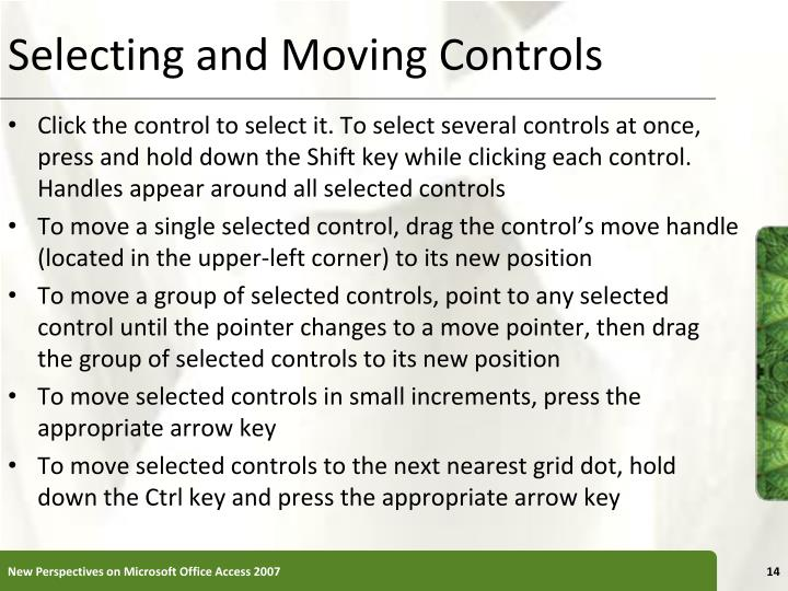 Selecting and Moving Controls