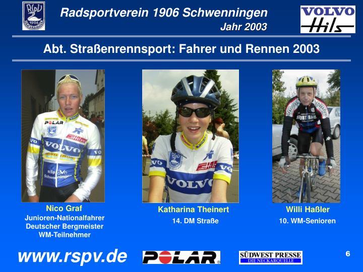 Abt. Straßenrennsport: Fahrer und Rennen 2003