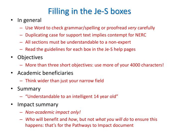 Filling in the Je-S boxes