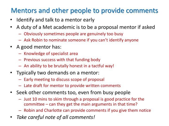 Mentors and other people to provide comments