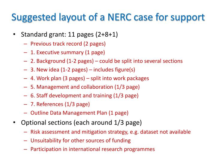 Suggested layout of a NERC case for support