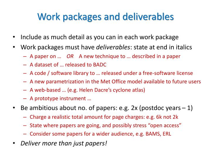 Work packages and deliverables