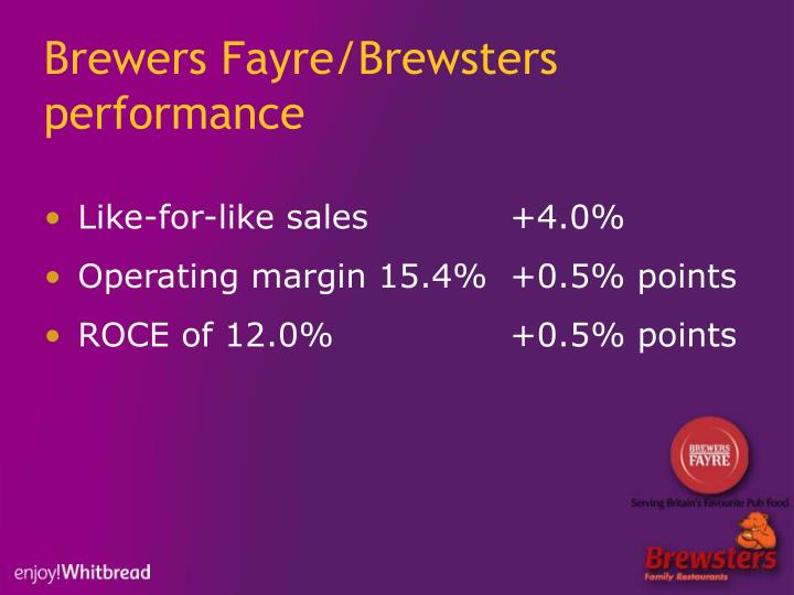 Brewers Fayre/Brewsters performance
