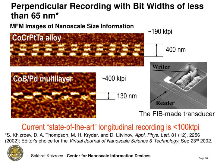 Perpendicular Recording with Bit Widths of less than 65 nm*