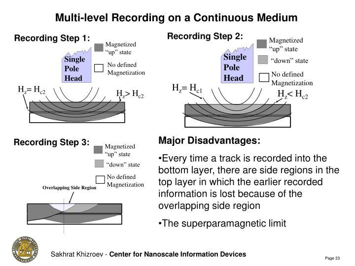 Multi-level Recording on a Continuous Medium