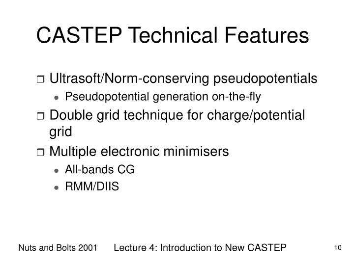CASTEP Technical Features