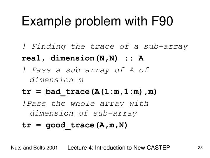 Example problem with F90