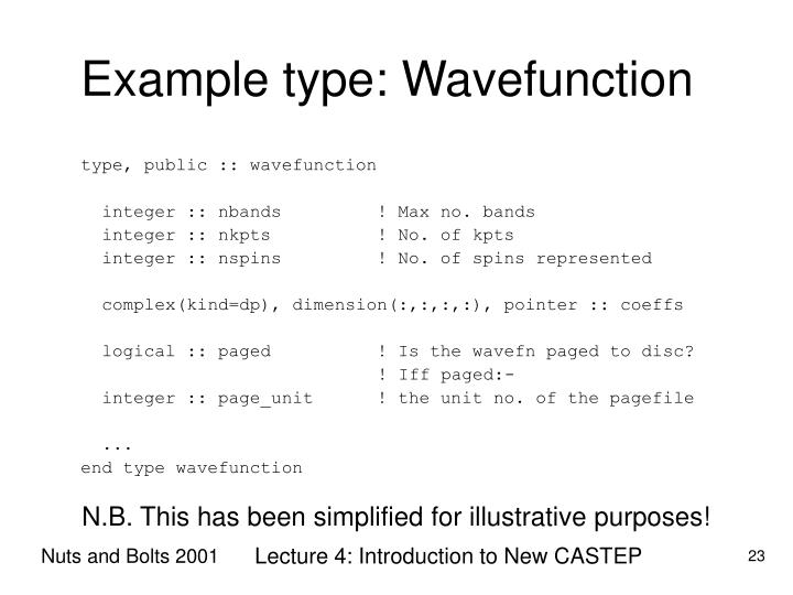 Example type: Wavefunction