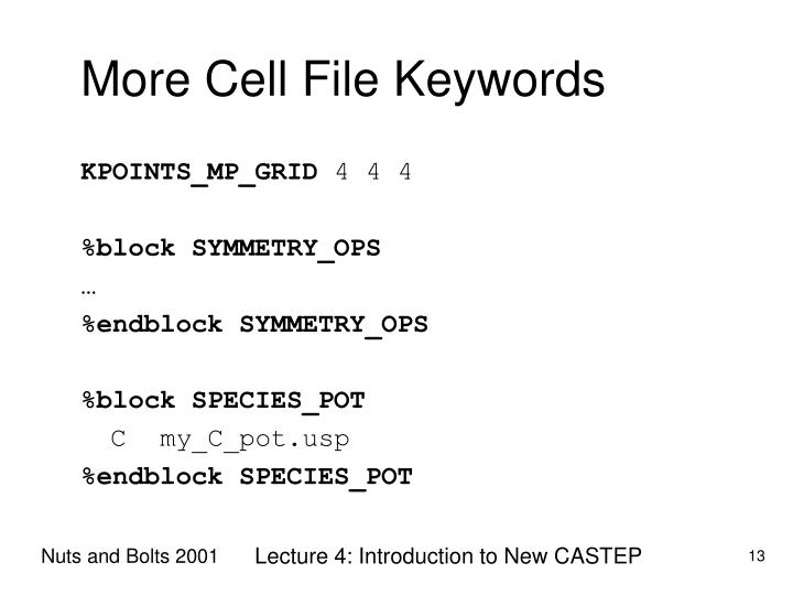 More Cell File Keywords