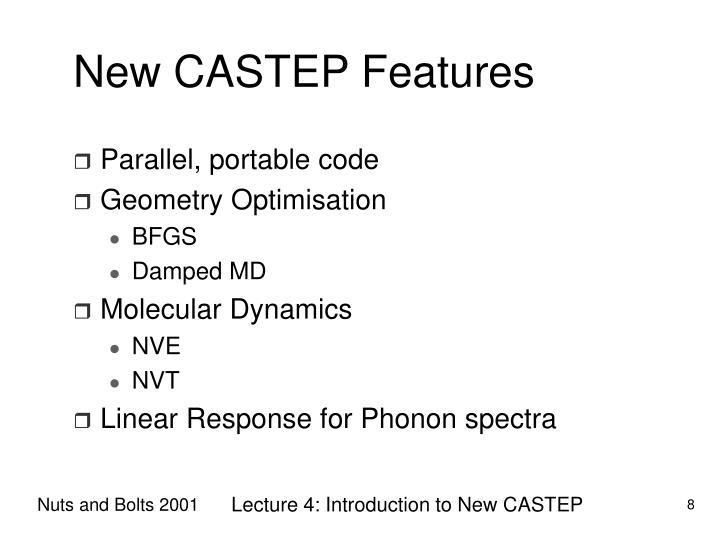 New CASTEP Features