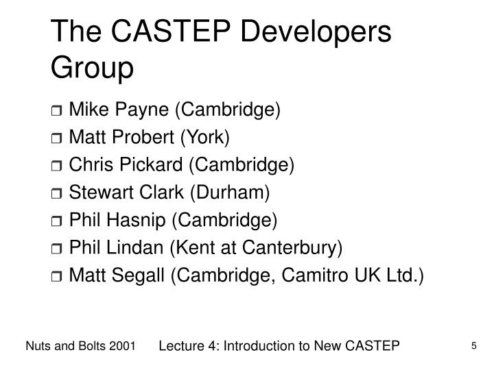 The CASTEP Developers Group