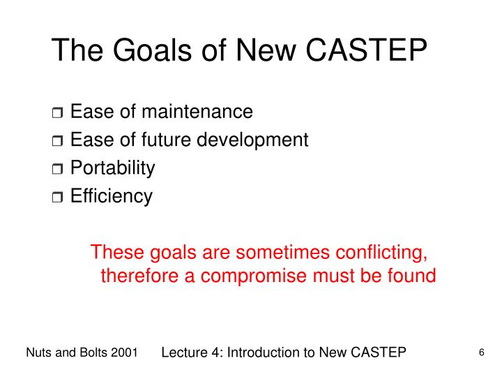 The Goals of New CASTEP