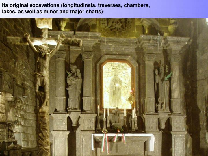 Its original excavations (longitudinals, traverses, chambers, lakes, as well as minor and major shafts)