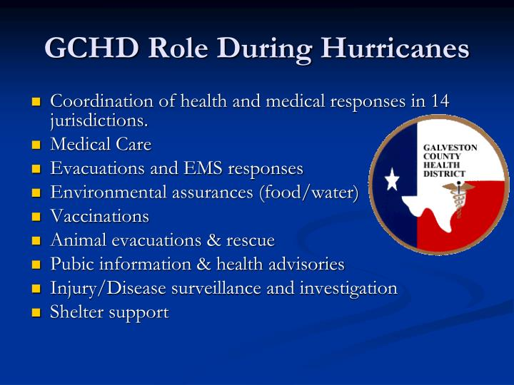 GCHD Role During Hurricanes