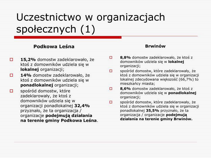 Uczestnictwo w organizacjach społecznych (1)