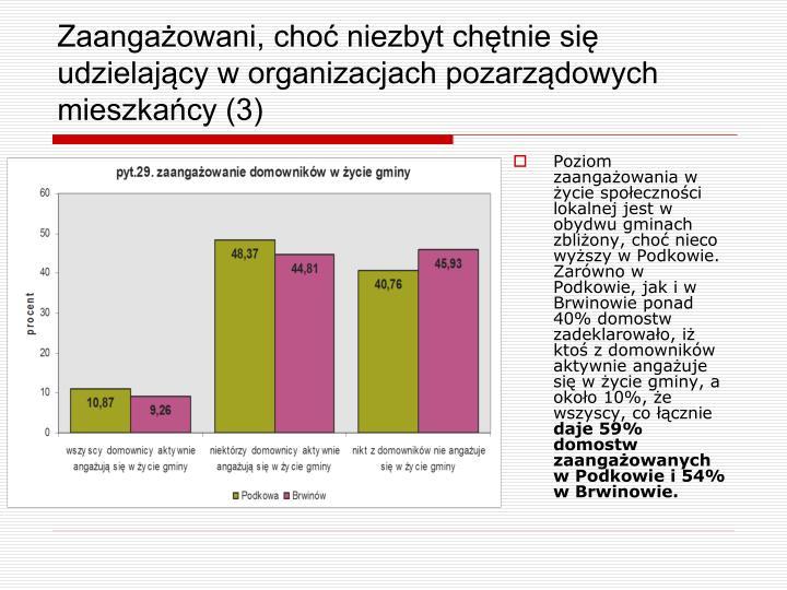 Poziom zaangażowania w życie społeczności lokalnej jest w obydwu gminach zbliżony, choć nieco wyższy w Podkowie. Zarówno w Podkowie, jak i w Brwinowie ponad 40% domostw zadeklarowało, iż ktoś z domowników aktywnie angażuje się w życie gminy, a około 10%, że wszyscy, co łącznie