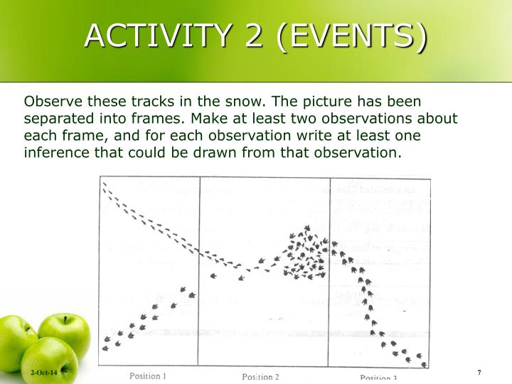 ACTIVITY 2 (EVENTS)