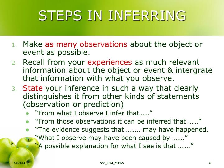 STEPS IN INFERRING
