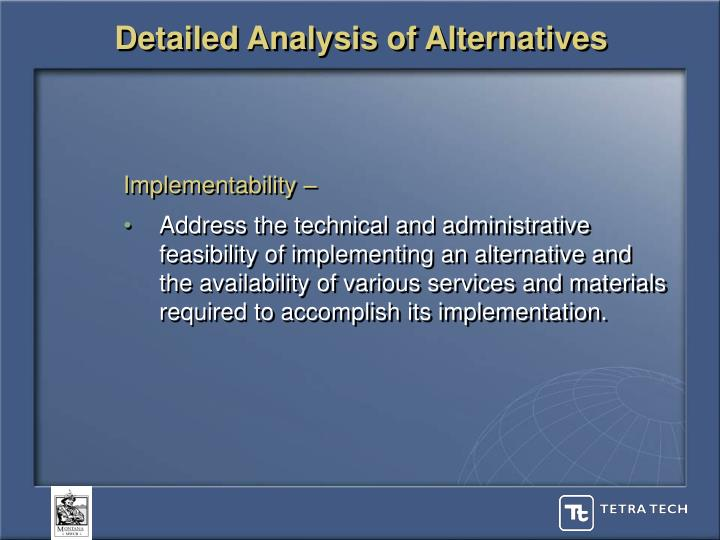 Detailed Analysis of Alternatives