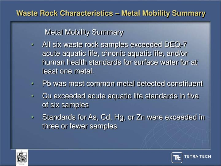 Waste Rock Characteristics – Metal Mobility Summary