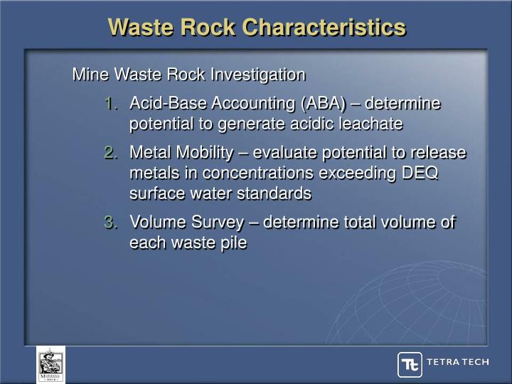 Waste Rock Characteristics