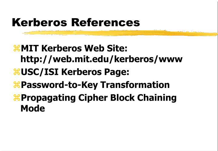 Kerberos References