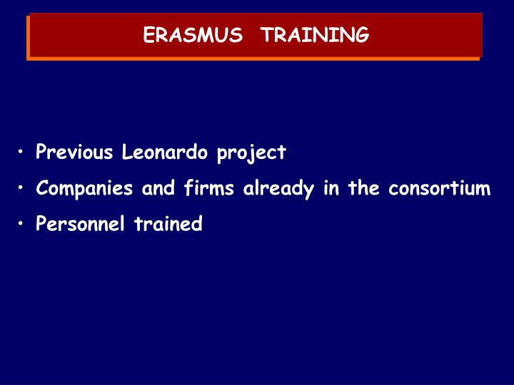 ERASMUS  TRAINING