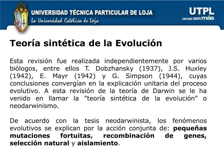 Teoría sintética de la Evolución