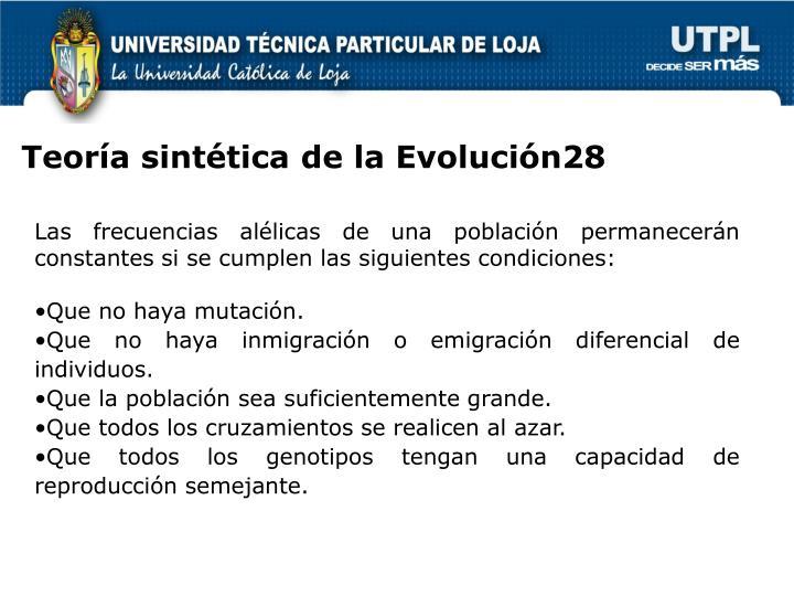 Teoría sintética de la Evolución28