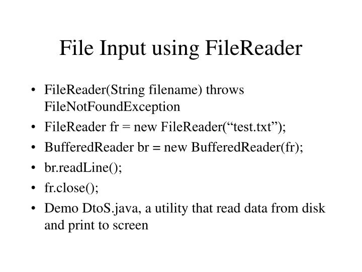 File Input using FileReader
