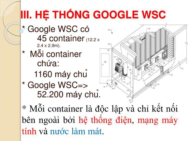 III. HỆ THỐNG GOOGLE WSC
