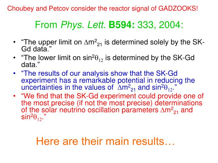 Choubey and Petcov consider the reactor signal of GADZOOKS!