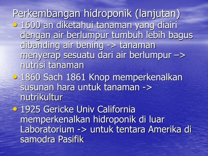 Perkembangan hidroponik (lanjutan)