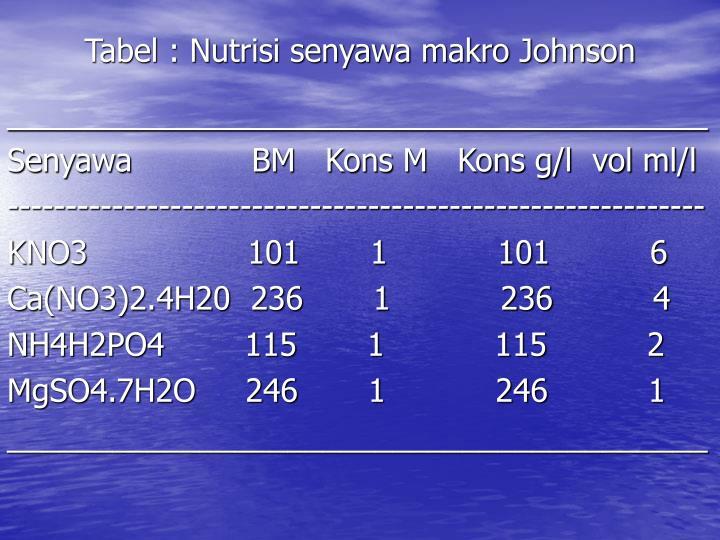 Tabel : Nutrisi senyawa makro Johnson