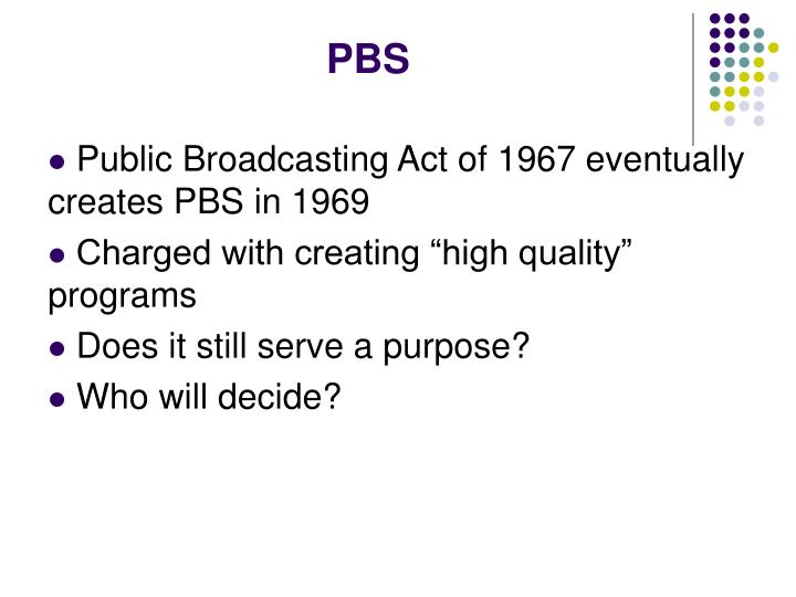 Public Broadcasting Act of 1967 eventually creates PBS in 1969
