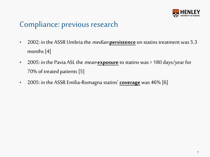 Compliance: previous research