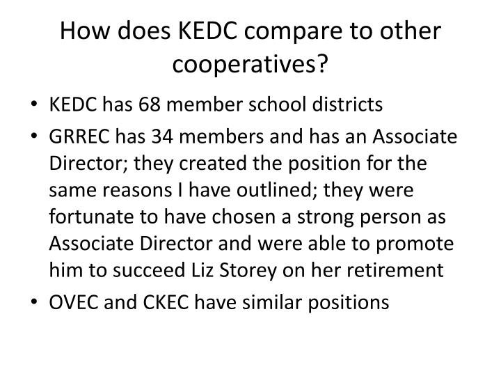 How does KEDC compare to other cooperatives?