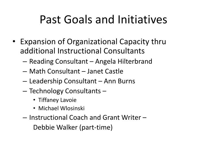 Past Goals and Initiatives