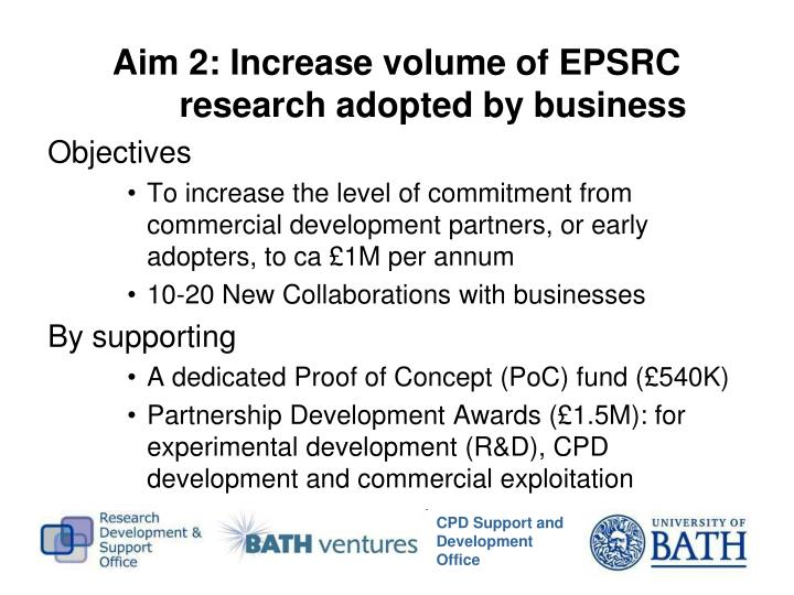 Aim 2: Increase volume of EPSRC research adopted by business