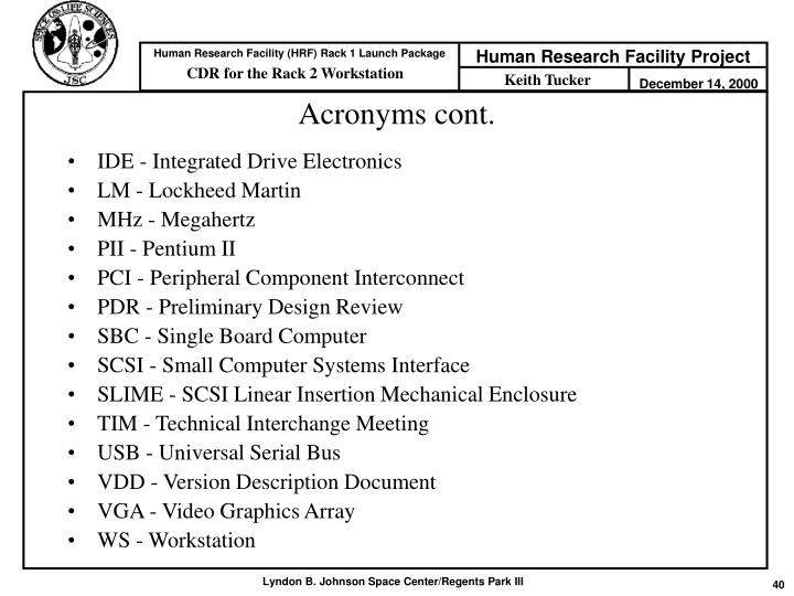 Acronyms cont.