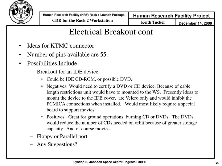 Electrical Breakout cont