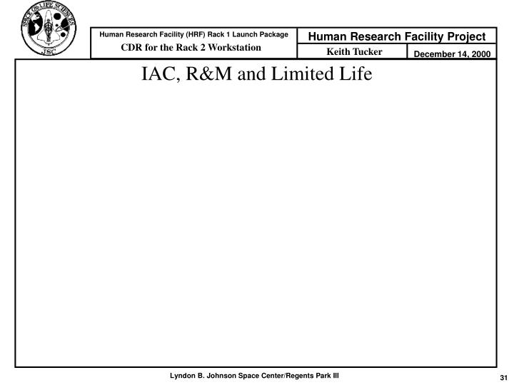 IAC, R&M and Limited Life