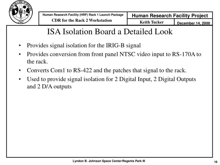 ISA Isolation Board a Detailed Look