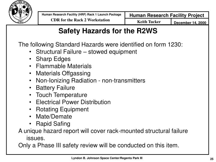 Safety Hazards for the R2WS