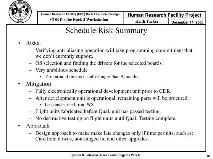 Schedule Risk Summary
