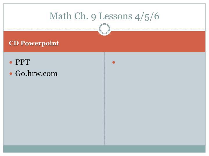 Math Ch. 9 Lessons 4/5/6