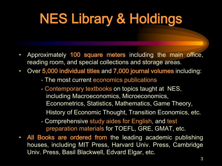 Nes library holdings