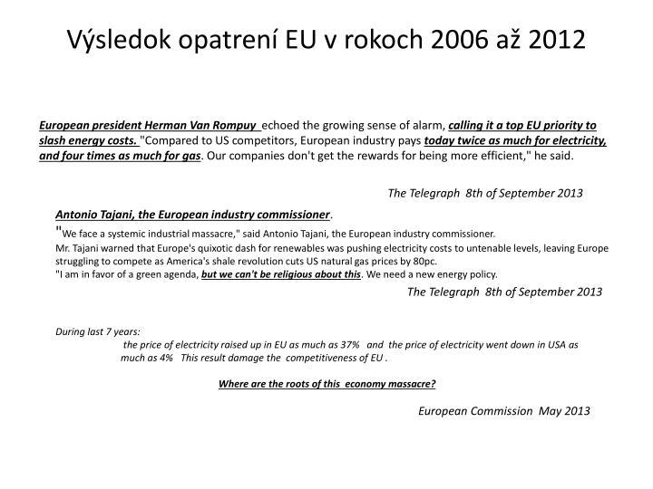 Výsledok opatrení EU v rokoch 2006 až 2012